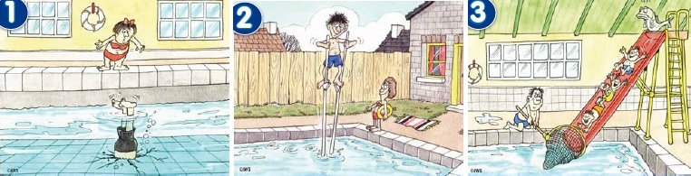 1. Be careful not to dive into shallow water. 2. Check to see how deep the pool is before getting in. 3. Watch out for younger children at all times.