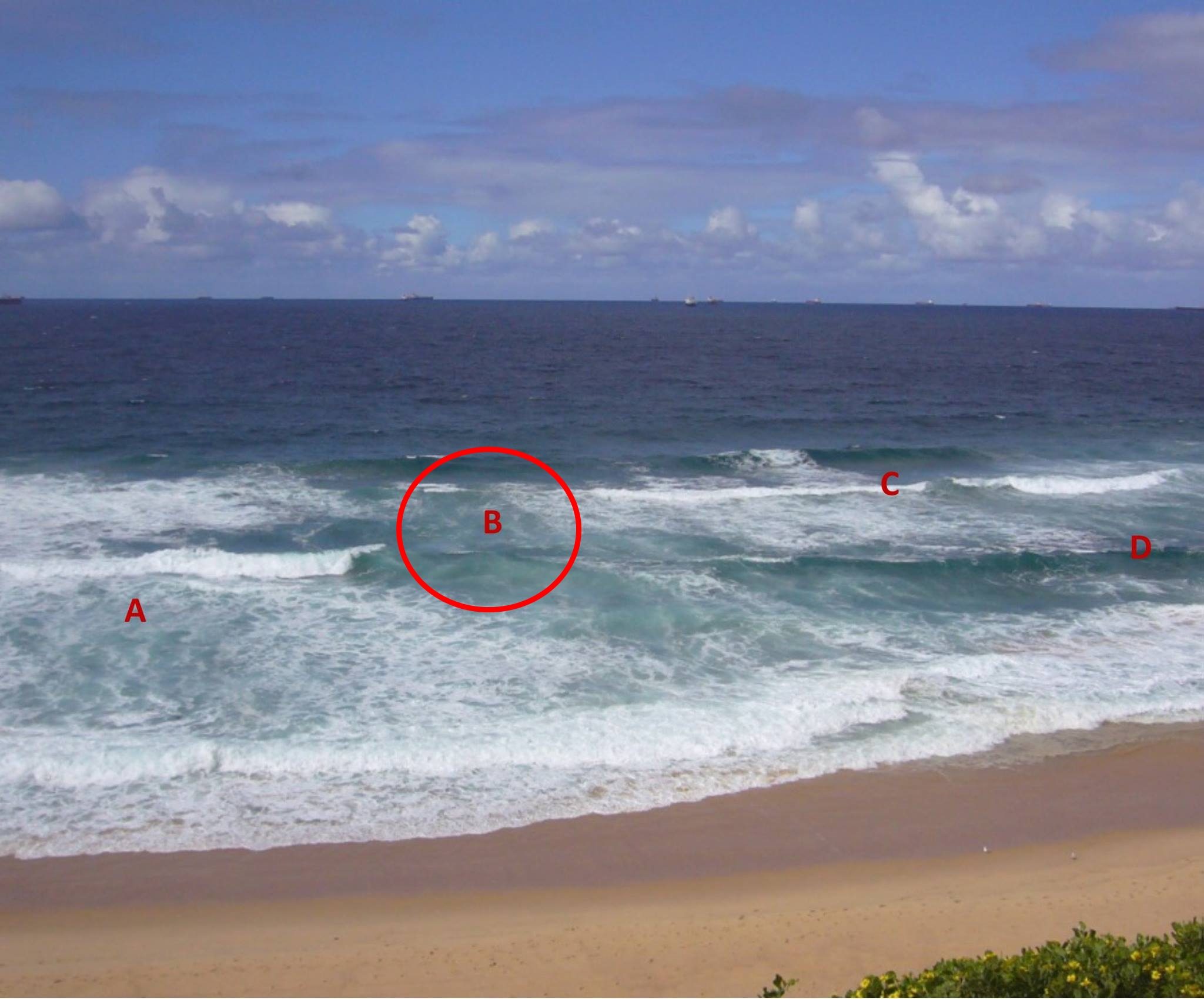 The Rip Current is at location B.