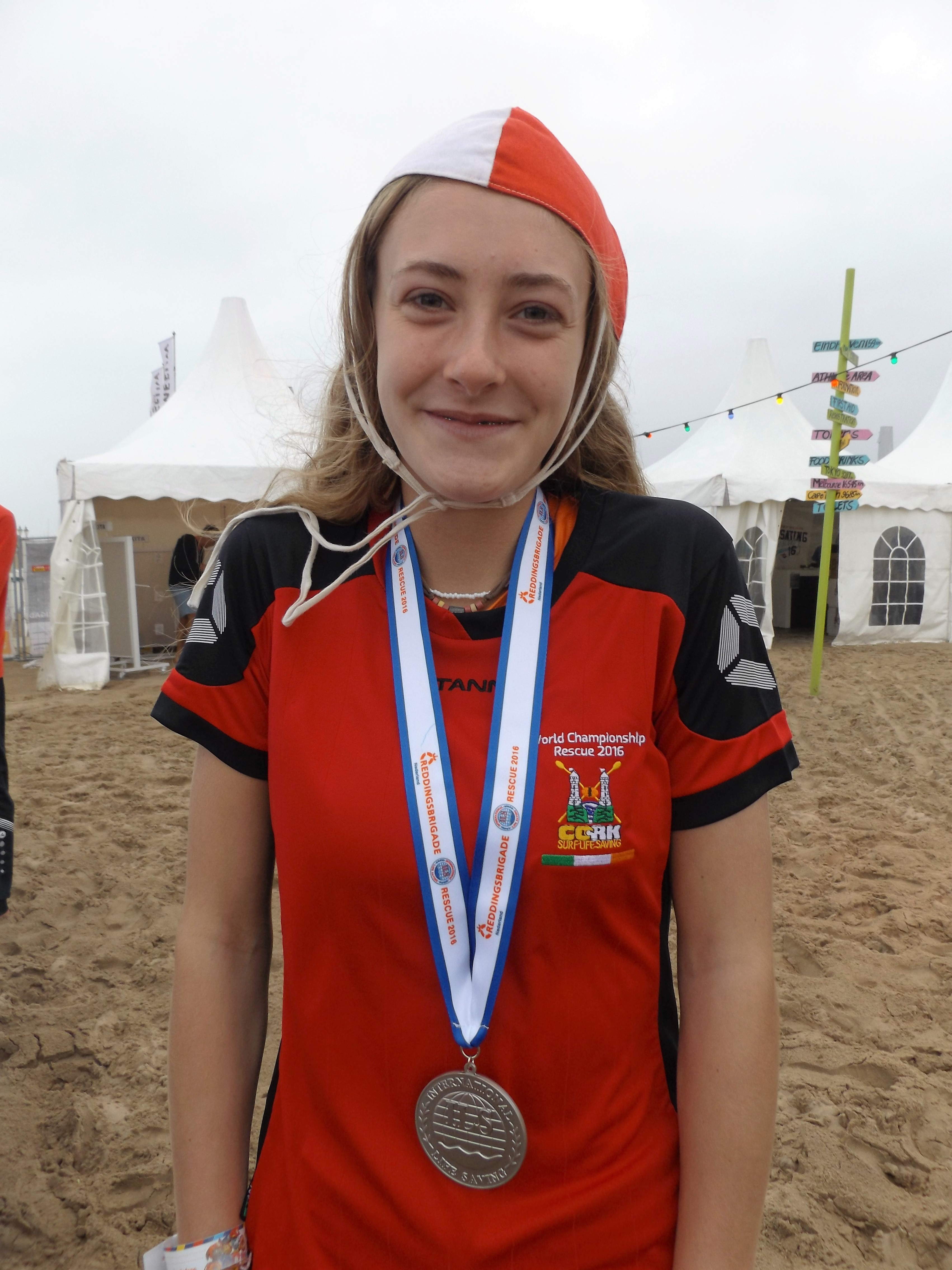 15 Year Old Laura Nicholson Clonakilty wins a Silver Medal in Beach Run at the Life Saving World Championships in Holland (Image credit: Gail Butler)