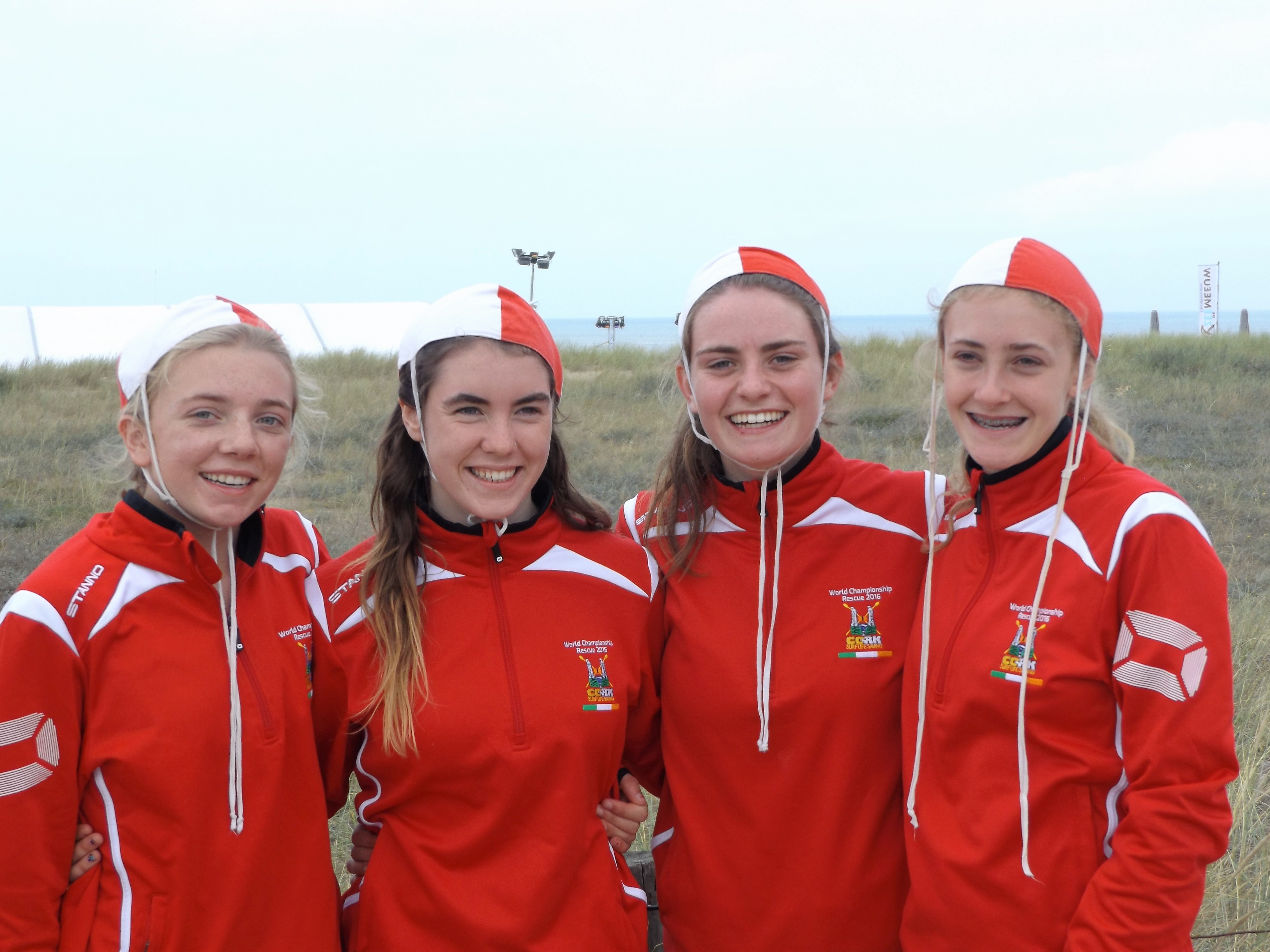 Aideen Butler, Sally Naughton, Moira Barrett and Laura Nicholson from Clonakilty - Girls Beach Sprint Relay Team that finished 11th at the World Championships in Holland (Image credit: Gail Butler)